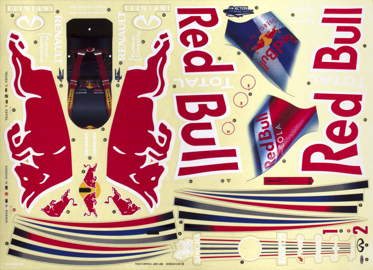 Image of water-slide decals for the Red Bull RB7 Formula 1 car scale model