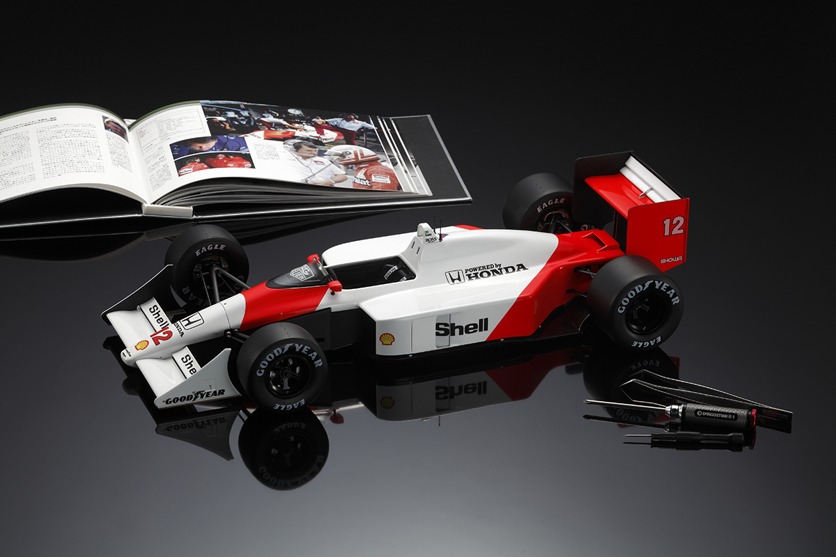 Image of the ModelSpace scale model Ayrton Senna McLaren MP4/4 Formula One car
