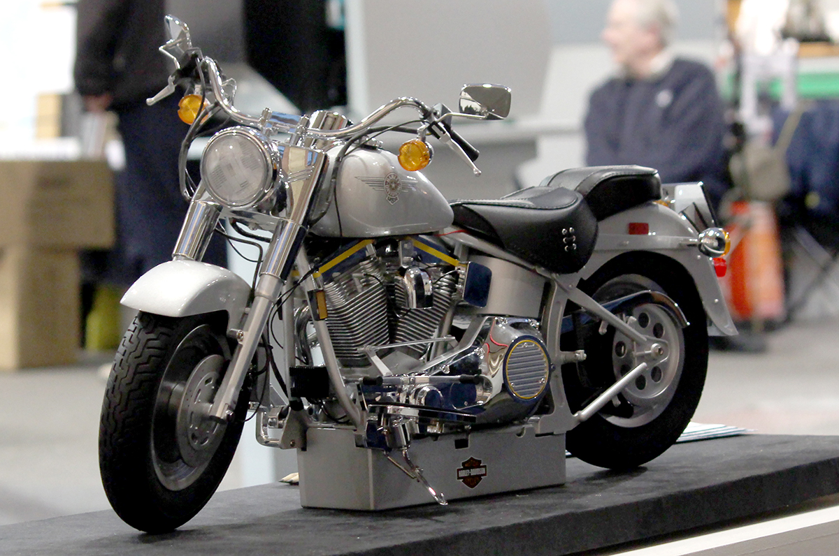 Image of Harley Davidson Fat Boy on display at the London Model Engineering Exhibition 2016