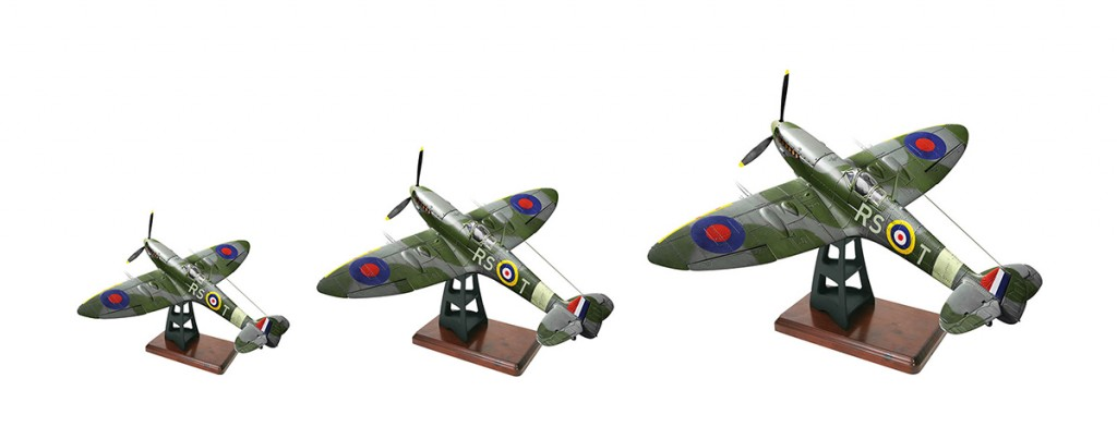 Image of 3 Spitfire plane models, for blog about tips for scale modelling