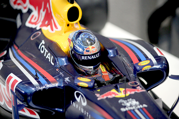 Close up image of the ModelSpace 1:7 scale model Red Bull RB7 Formula 1 racing car, as part of a blog about the evolution of Team Red Bull Racing's F1 cars from RB7 to RB12