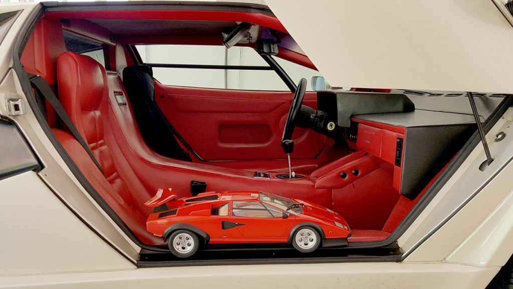 Image of ModelSpace 1:8 scale model Lamborghini Countach, inside a real Countach, for a blog interview with ModelSpacer Allan Lambo