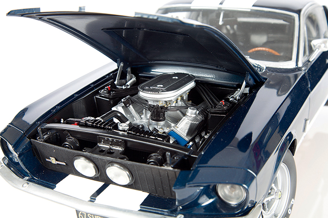 Image of engine from ModelSpace 1:8 scale model 1967 Mustang Shelby GT500, as part of a blog about the Mustang Shelby's history.