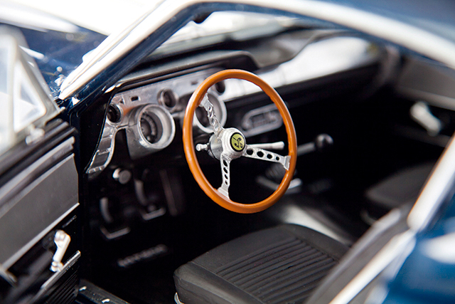 Image of driver's seat from ModelSpace 1:8 scale model 1967 Mustang Shelby GT500, as part of a blog about the Mustang Shelby's history.