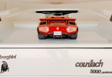 Image of ModelSpace 1:8 scale model Lamborghini Countach, on top of a real Countach, for a blog interview with ModelSpacer Allan Lambo
