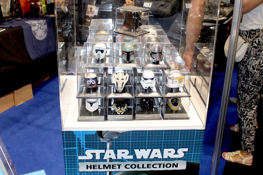 Image of the ModelSpace Star Wars Helmets Collection on display at Star Wars Celebration Europe 2016, included in a blog about De Agostini winning the Disney Product Innovation Award 2016