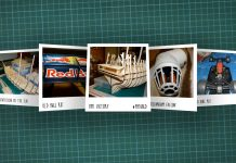 Image of scale modelling cutting board with polaroids of various scale models, as cover image for a blog about the ModelSpace August scale modeller of the month - Anthony Widdowson.