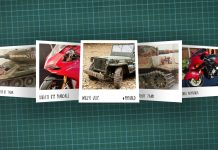 Image of scale modelling cutting board with polaroids of various scale models, as cover image for a blog about the ModelSpace September scale modeller of the month - Daran Leaver.
