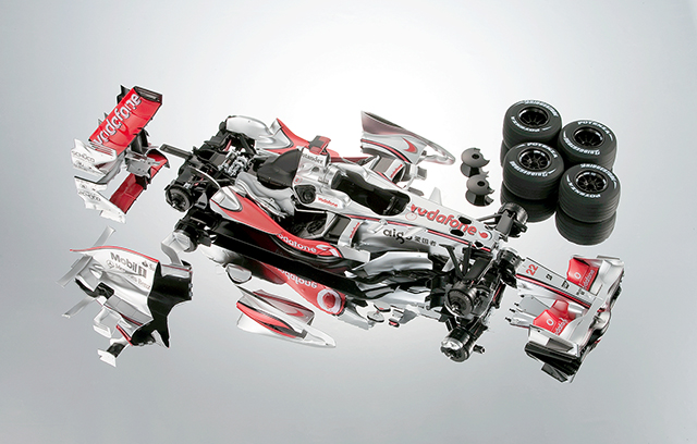 Image of ModelSpace McLaren MP4-23 scale model F1 car, as part of a blog about choosing your first scale model.