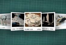 Image of scale modelling cutting board with polaroids of various Star Wars scale models, as cover image for a blog about the ModelSpace November scale modeller of the month - Alex Hilpert.