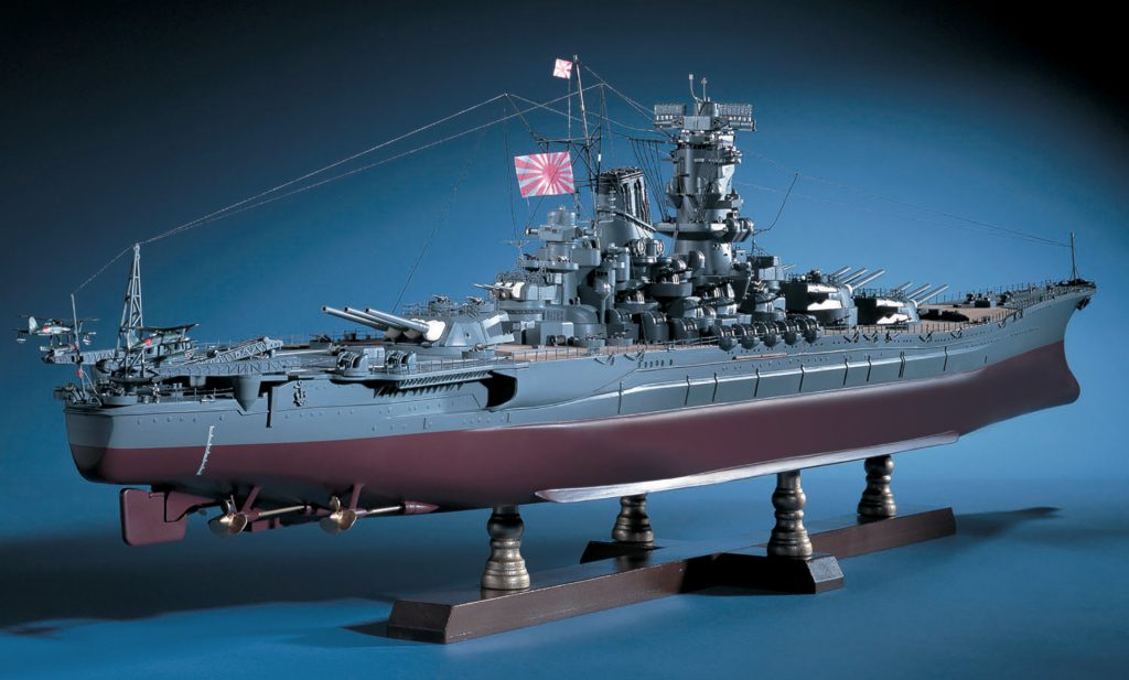 Image of the ModelSpace 1:250 Battleship Yamato scale model, as a cover image for a blog about the history of battleships prior to being defeated by aerial attacks.