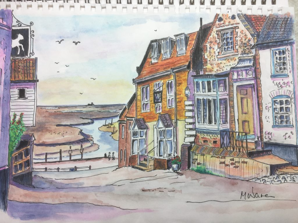 Image of a sketch drawn by Mark Warren while on holiday in Norfolk, included in a blog about the ModelSpace December scale modeller of the month - Mark Warren.