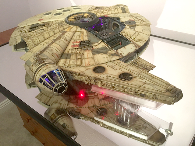 Image of Mark's completed De Agostini ModelSpace 1:1 prop replica Millennium Falcon scale model, included in a blog about the ModelSpace December scale modeller of the month - Mark Warren.