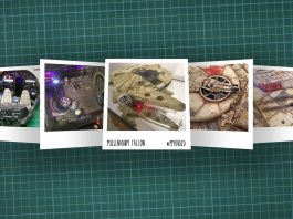 Image of scale modelling cutting board with polaroids of the De Agostini ModelSpace 1:1 prop replica scale model Millennium Falcon, as cover image for a blog about the ModelSpace December scale modeller of the month - Mark Warren.