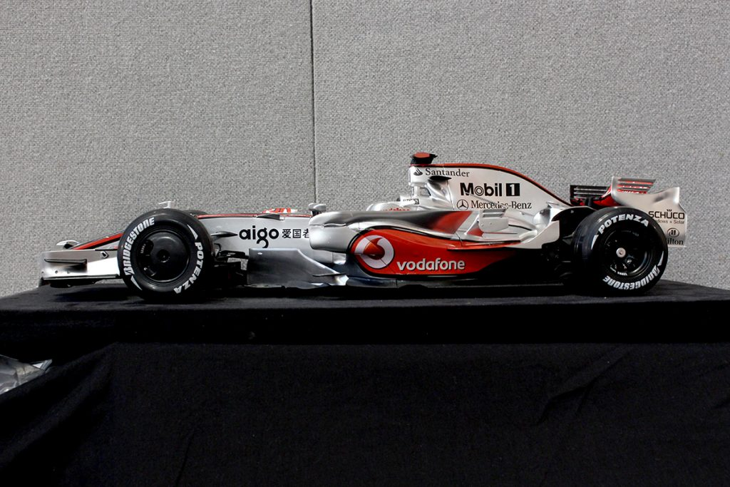 Image of the ModelSpace scale model McLaren MP4-23 Formula One car, as part of a blog about Lewis Hamilton's first F1 championship winning season