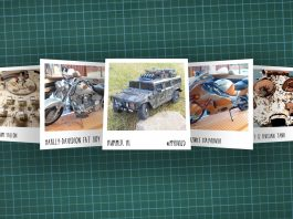 Image of scale modelling cutting board with polaroids of various scale models, as cover image for a blog about the ModelSpace February scale modeller of the month - Andreas Draisbach.