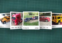 Image of scale modelling cutting board with polaroids of various scale models, as cover image for a blog about the ModelSpace January scale modeller of the month - Sascha Pflugmacher.