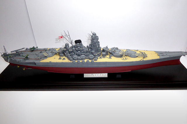 Image of a 1:350 scale Battleship Yamato model, as part of a blog about the ModelSpace March scale modeller of the month - Dave Crayford.
