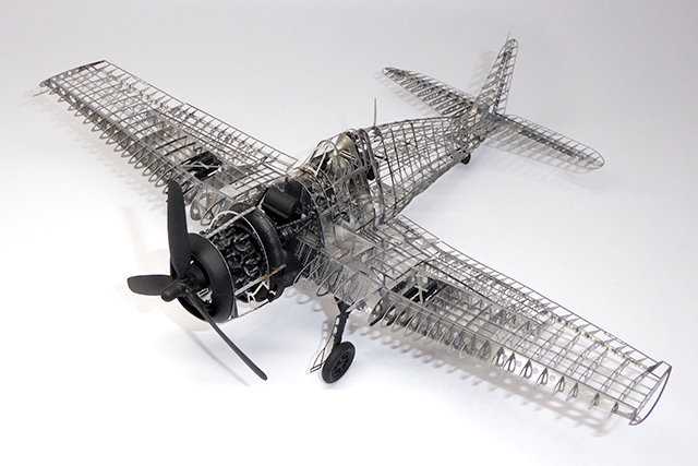 Image of a photo etch Hellcat plane model, as part of a blog about the ModelSpace March scale modeller of the month - Dave Crayford.
