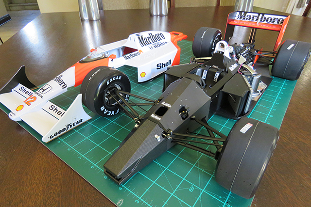 Image of a De Agostini ModelSpace 1:8 scale Senna McLaren MP4/4 model, as part of a blog about the ModelSpace April scale modeller of the month - Malcolm Stock.