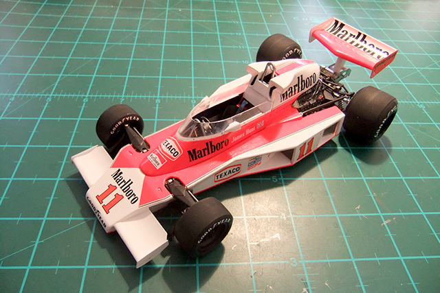 Image of a McLaren M23 1976 scale model, as part of a blog about the ModelSpace April scale modeller of the month - Malcolm Stock.