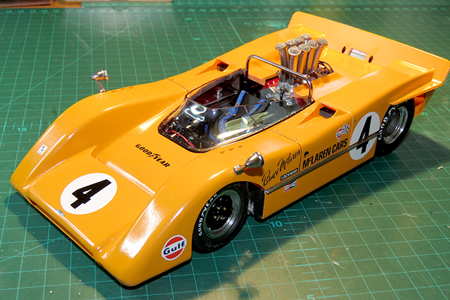 Image of a McLaren M8 scale model, as part of a blog about the ModelSpace April scale modeller of the month - Malcolm Stock.
