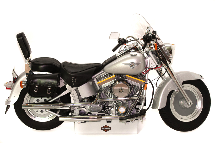 Image of 1:4 scale Harley-Davidson Fat Boy model, as part of a blog about the ModelSpace May scale modeller of the month - Michal Chaniewski.