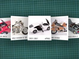 Image of scale modelling cutting board with polaroids of various scale models, as cover image for a blog about the ModelSpace May scale modeller of the month - Michal Chaniewski.