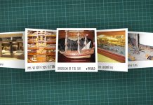 Image of scale modelling cutting board with polaroids of various scale models, as cover image for a blog about the ModelSpace June scale modeller of the month - Bernd Peppmeier.