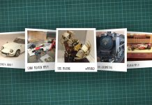 Image of scale modelling cutting board with polaroids of various scale models, as cover image for a blog about the ModelSpace July scale modeller of the month - Carl Darby.