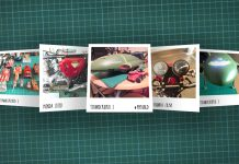 Image of scale modelling cutting board with polaroids of various scale models, as cover image for a blog about the ModelSpace August scale modeller of the month - Stephen Graham.