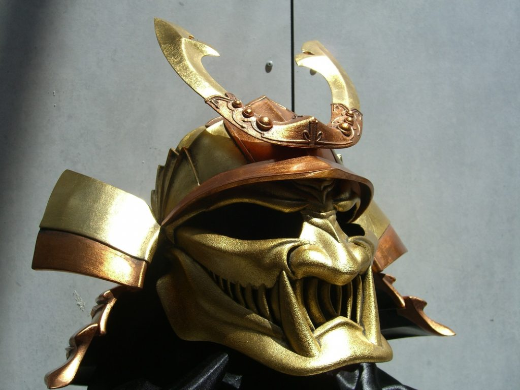 Image of Russ's Oni Kabuto helmet, as part of a blog about the ModelSpace September scale modeller of the month - Russ Ogi.