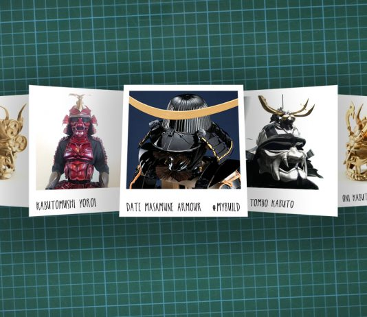 Image of scale modelling cutting board with polaroids of various scale model Samurai, as cover image for a blog about the ModelSpace September scale modeller of the month - Russ Ogi.