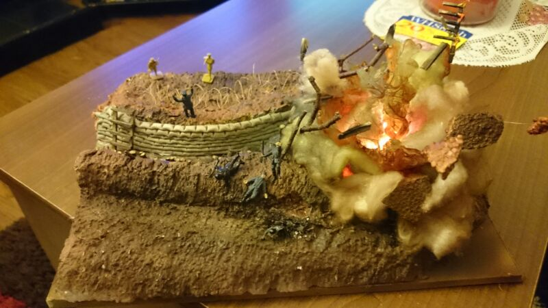 "Image of kit-bashed ""WWI horror of the trenches"" diorama, as part of a blog about how to kit bash scale models."