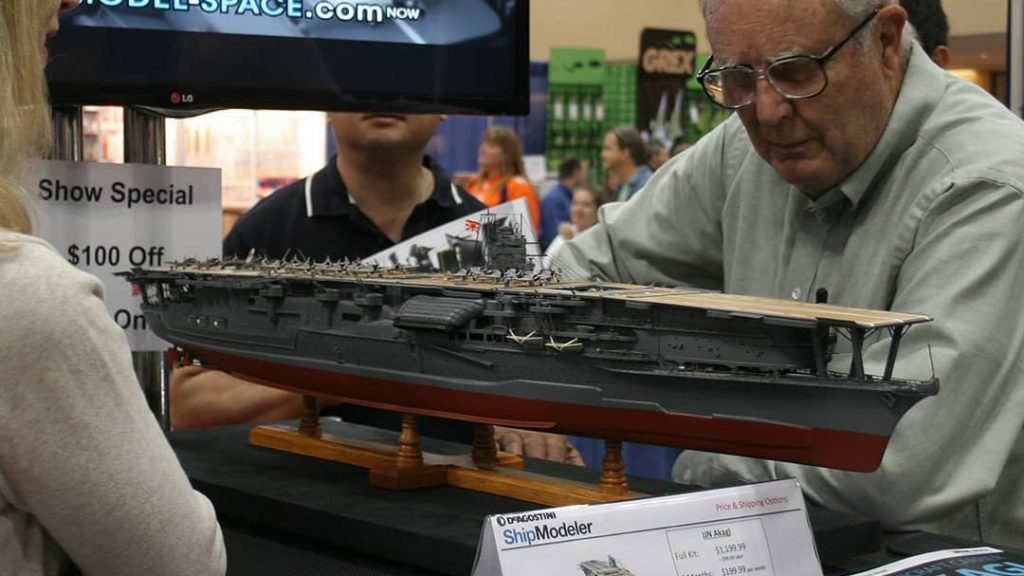 Image of a DeAgostini ModelSpace 1:250 scale IJN Akagi model ship, as part of a blog about the best Christmas gift ideas for craft lovers