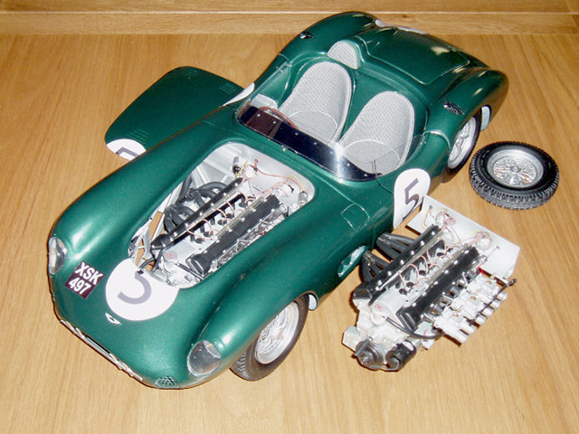 Image of the Aston Martin DBR1 scale model car, as part of a blog about the ModelSpace December scale modeller of the month - Roy Fitzsimmonds.