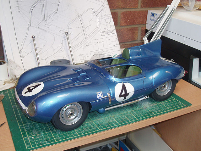 Image of the Jaguar D-Type scale model car, as part of a blog about the ModelSpace December scale modeller of the month - Roy Fitzsimmonds .