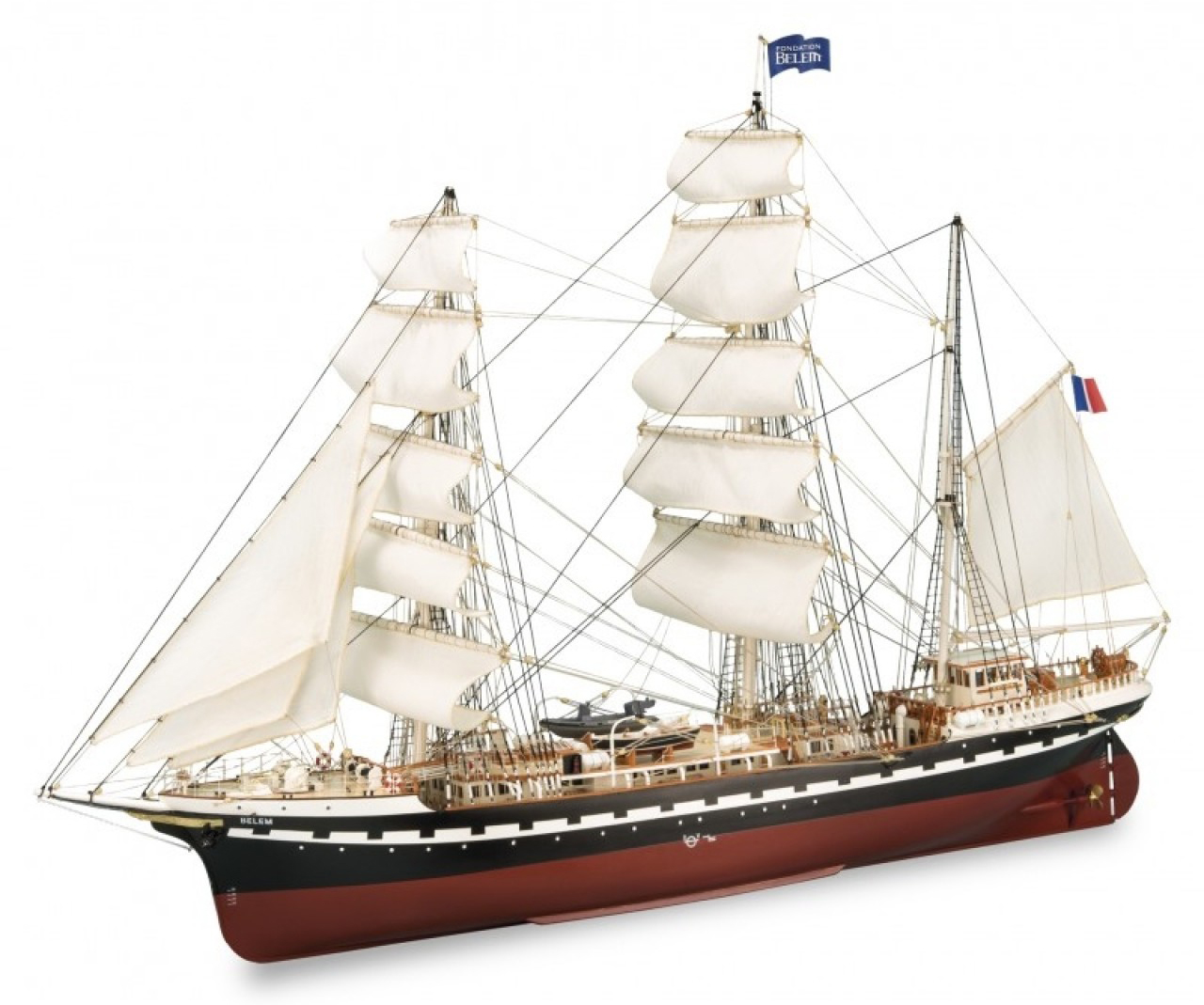 Image of the DeAgostini ModelSpace 1:75 scale Belem ship model, as part of a blog about the Belem ship and its history.
