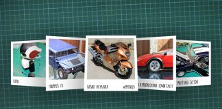 Image of scale modelling cutting board with polaroids of various De Agostini ModelSpace scale models, as cover image for a blog about the ModelSpace February scale modeller of the month - Alan Crofts.