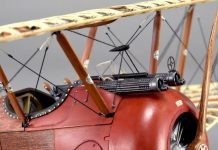 Image of DeAgostini ModelSpace 1:16 scale Sopwith Camel model plane, as part of a blog about the Sopwith Camel's WWI history.