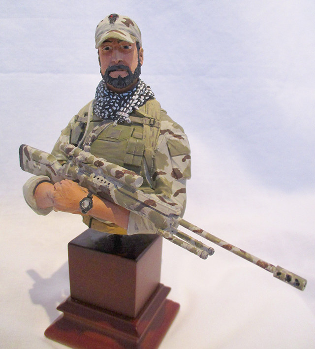 Image of US Navy Seal Sniper model as part of a blog about the ModelSpace May scale modeller of the month - Ian Smith.