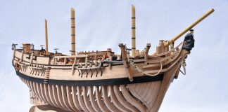 Image of the ModelSpace 1:48 HMS Bounty admiralty model, as part of a blog about how to build scale model ships.