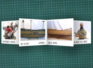 Image of scale modelling cutting board with polaroids of various De Agostini ModelSpace scale models, as cover image for a blog about the ModelSpace May scale modeller of the month - Ian Smith.