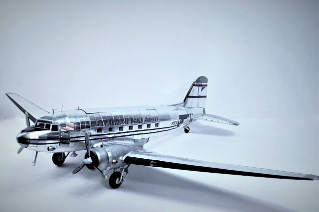 Image of the DeAgostini Douglas DC-3 model plane as part of a blog about the ModelSpace June scale modeller of the month - Derek Williams.