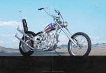 Cover image of a 1:4 scale model Captain America motorbike, for a blog about the history and cultural significance of the bike made famous by the 1960s Easy Rider film.