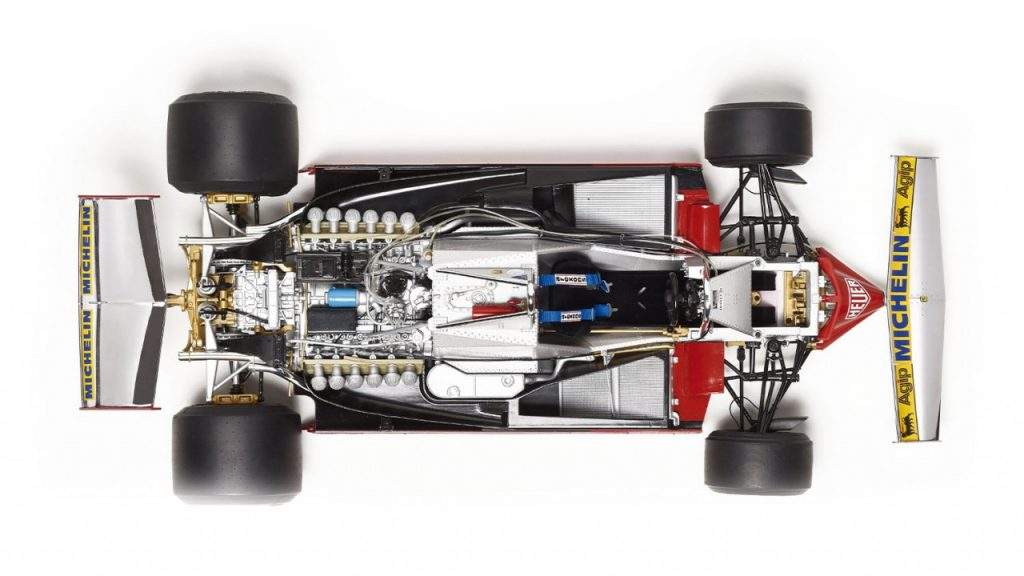 Image of the 1:8 scale ModelSpace Ferrari 312 T4 formula 1 car replica, as part of a blog about the Ferrari 312 T4's history.
