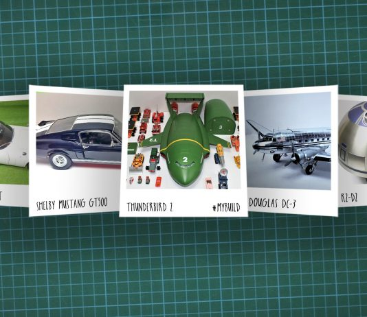 Image of scale modelling cutting board with polaroids of various De Agostini ModelSpace scale models, as cover image for a blog about the ModelSpace June scale modeller of the month - Derek Williams.