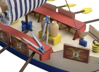 Image of the DeAgostini ModelSpace Roman Galley scale model, as part of a blog about the Roman Galley's history.