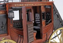 Image of the DeAgostini ModelSpace 1:10 scale American Stagecoach, as part of a blog about the stagecoach history in America.