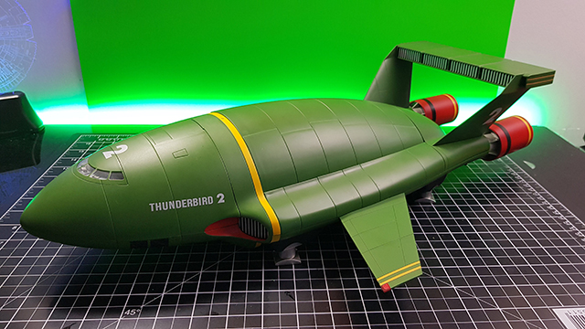 Image of the DeAgostini Thunderbird 2 model as part of a blog about the ModelSpace scale modeller spotlight on World of Wayne.